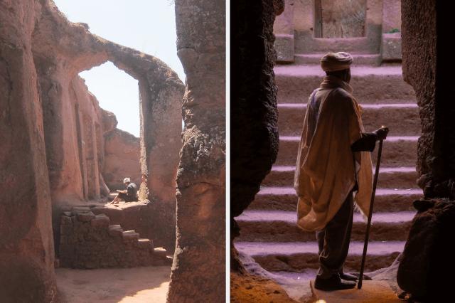 Lalibela, Priester, Säulen