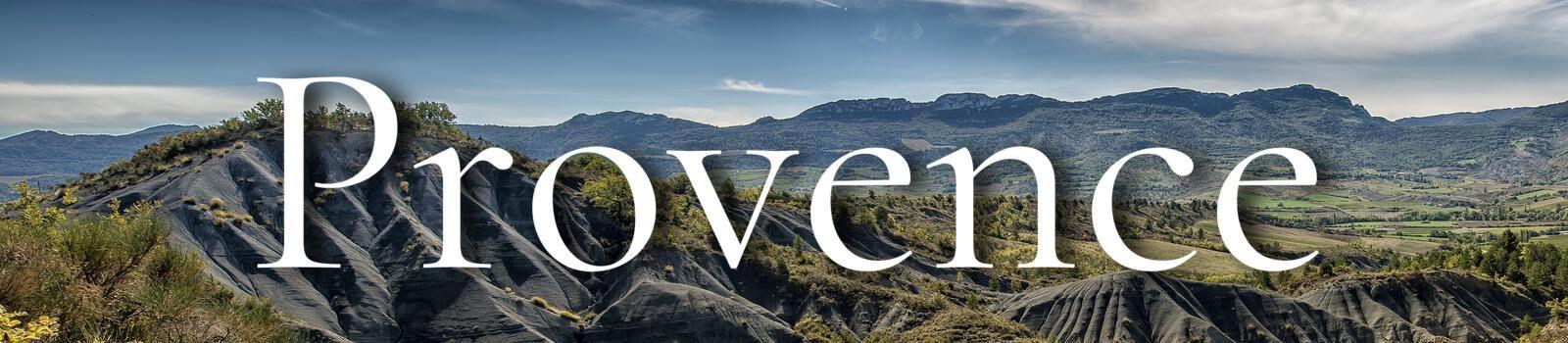 Grijze bergen met tekst Provence