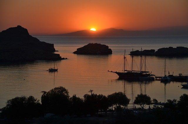Rhodos Strand Sonnenuntergang