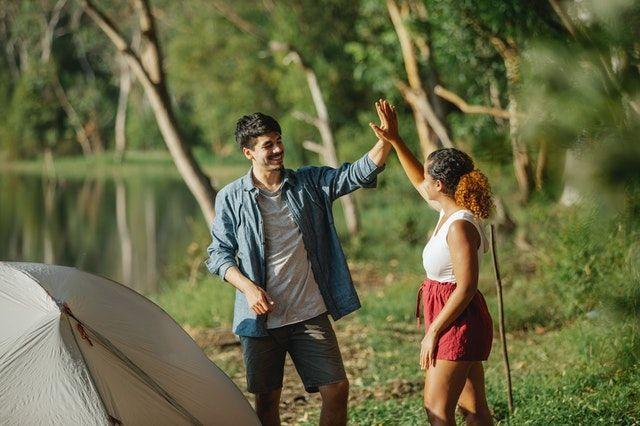 Zelt aufgebaut im Urlaub