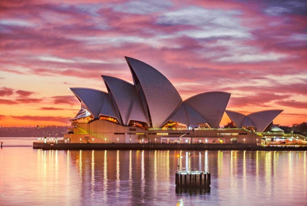Sydney Opera House in Australia at Sunset