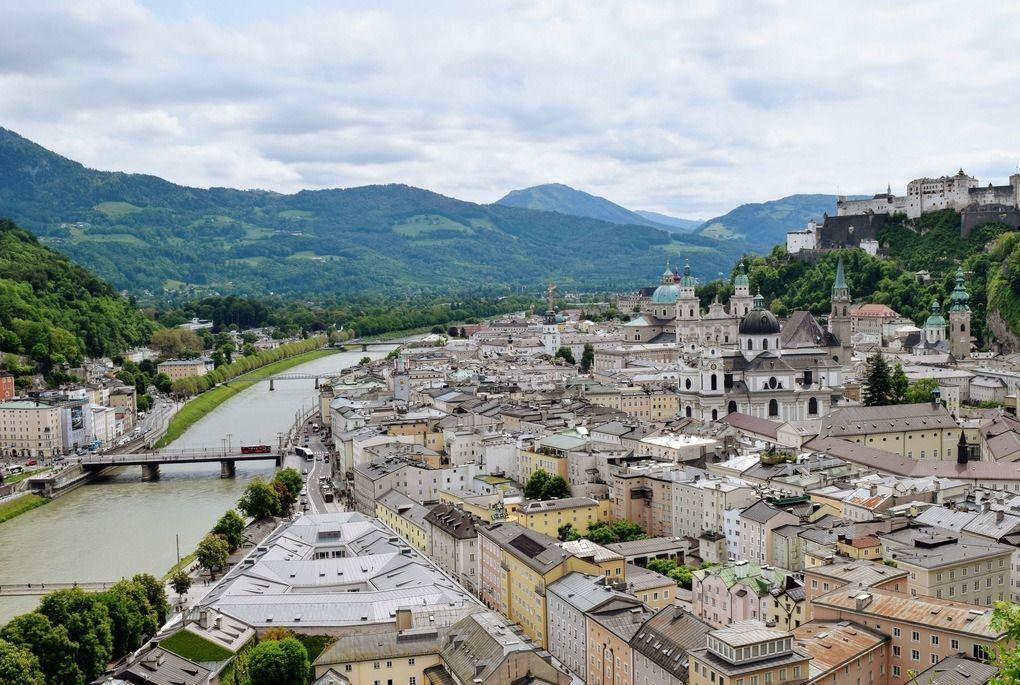 Overlooking historic center of Salzburg