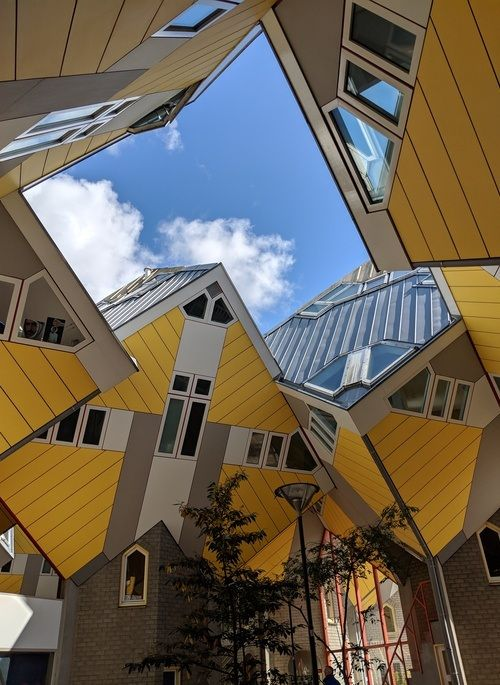 Yellow cube homes in Rotterdam
