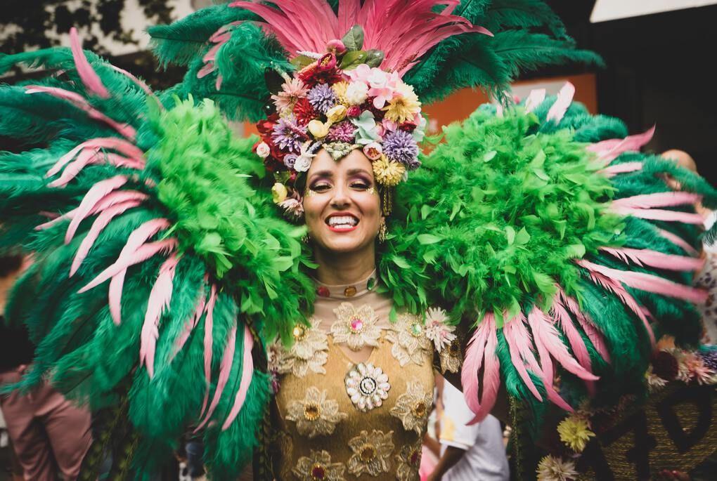 Woman in carnival attire