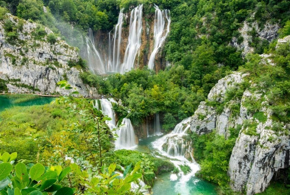 Multiple waterfalls in Croatia