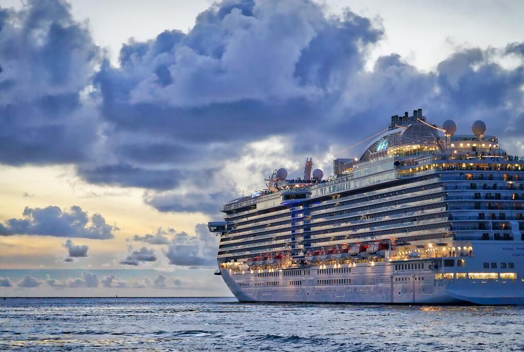 Huge cruise ship on the open ocean
