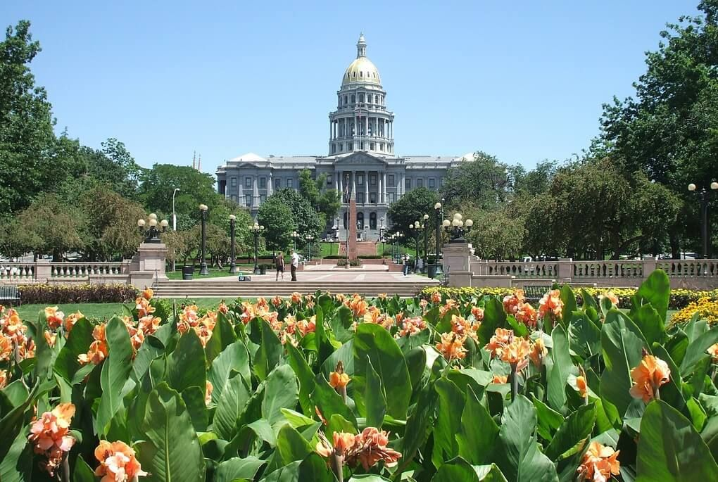 Flowers in front of the colorado state capitol