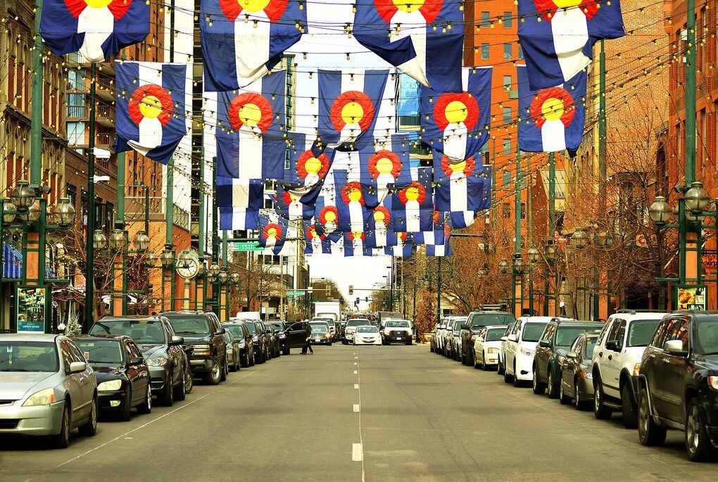 Colorado Banners down a street in Denver