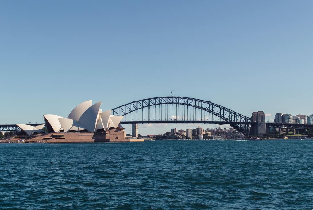 Sydney Opera House and bridge view from the water