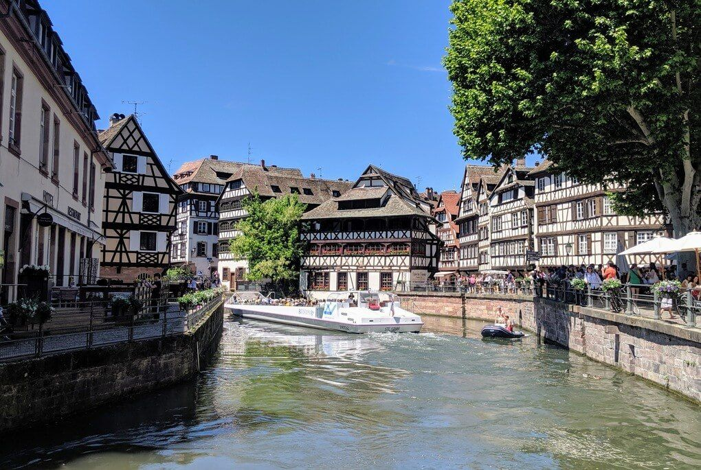 Strasbourg half timbered house along river