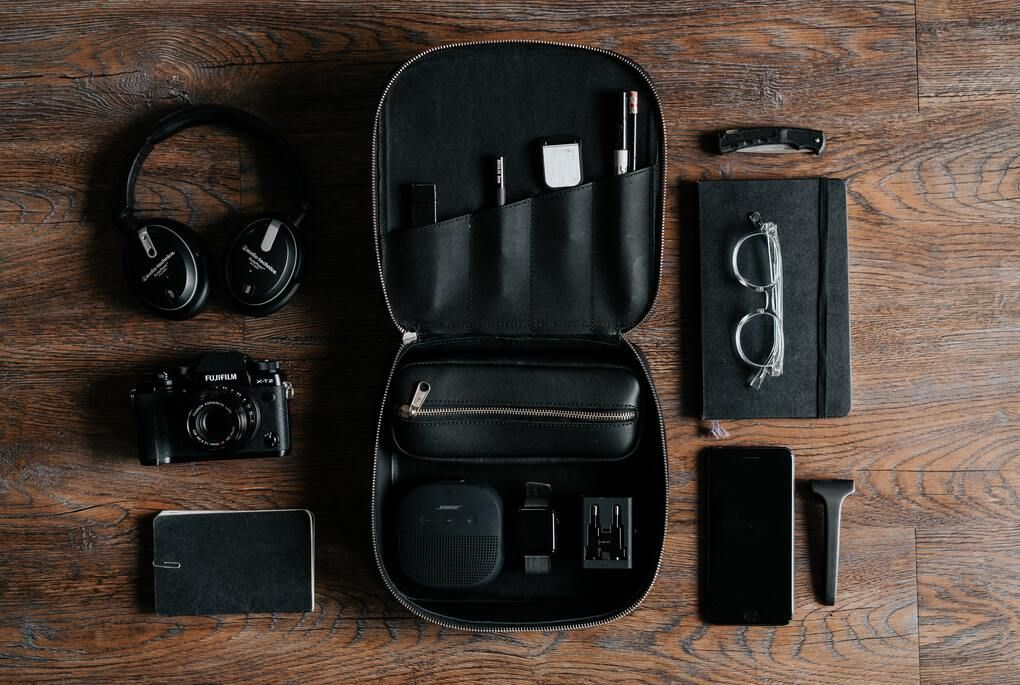 Black organizer case for technology, electronics, cords, cables, and more