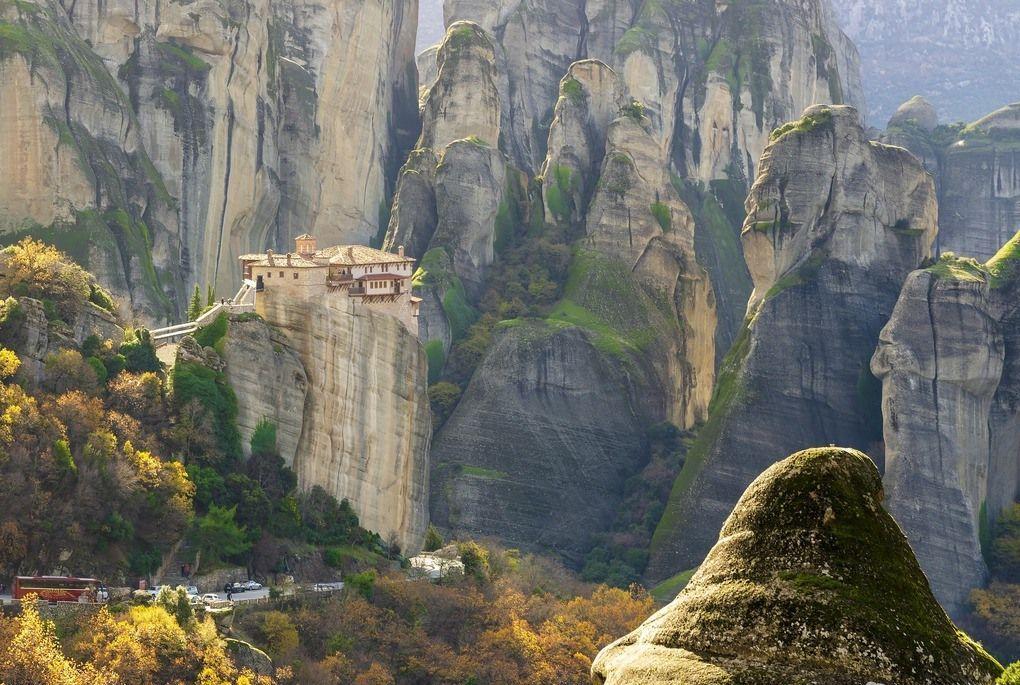 Meteora rock formations with monk monasteries on top