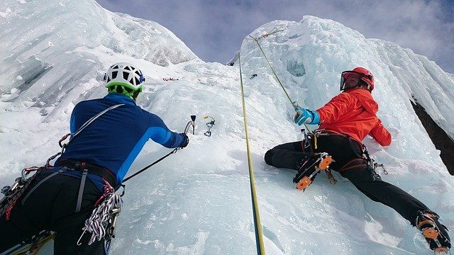 Ice climbing French Alps