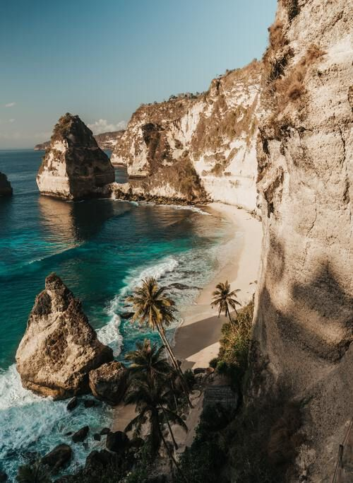 Bali, Indonesia - Beach surrounded by towering cliffs