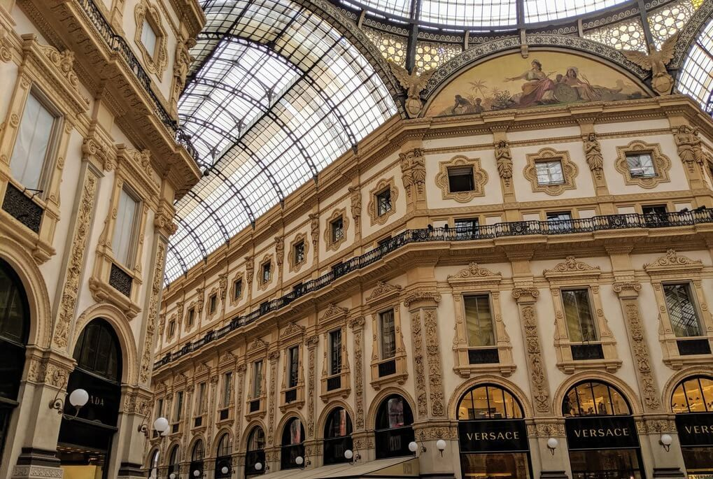Grand architecture at shopping arcade in Milan, Italy