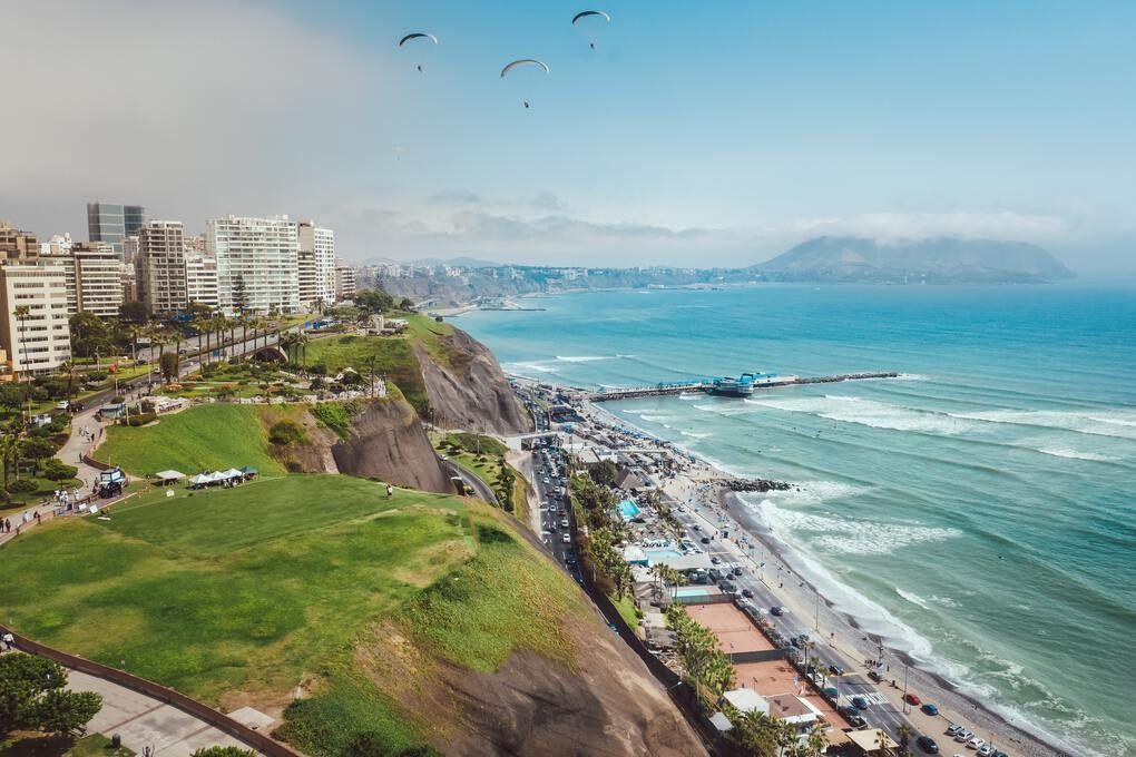 Miraflores neighborhood in Lima - overlooking city with big cliffs towering over ocean