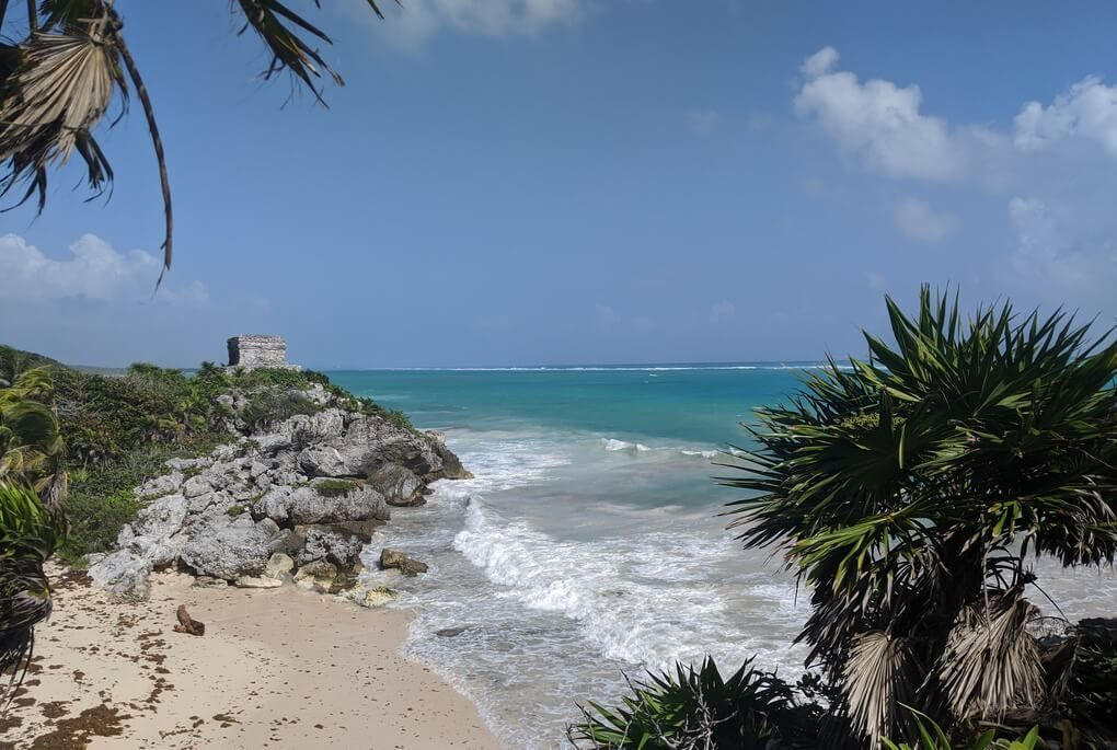Tulum ruins over beach