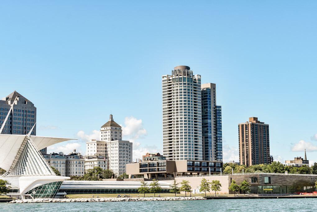 Milwaukee skyline across Lake Michigan with Milwaukee Art Museum in view