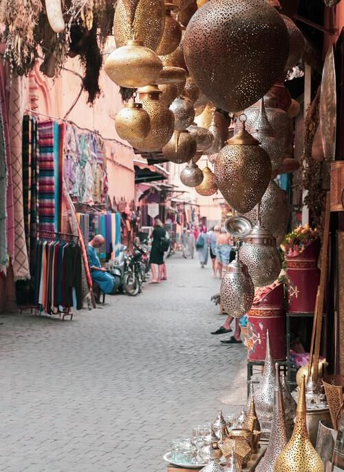 Moroccan souk with beautiful lamps and fabrics