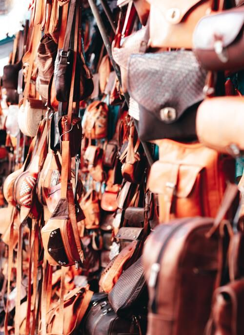 Fine leather goods at Moroccan souk