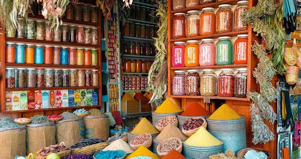 Colorful spices in a Moroccan Souk