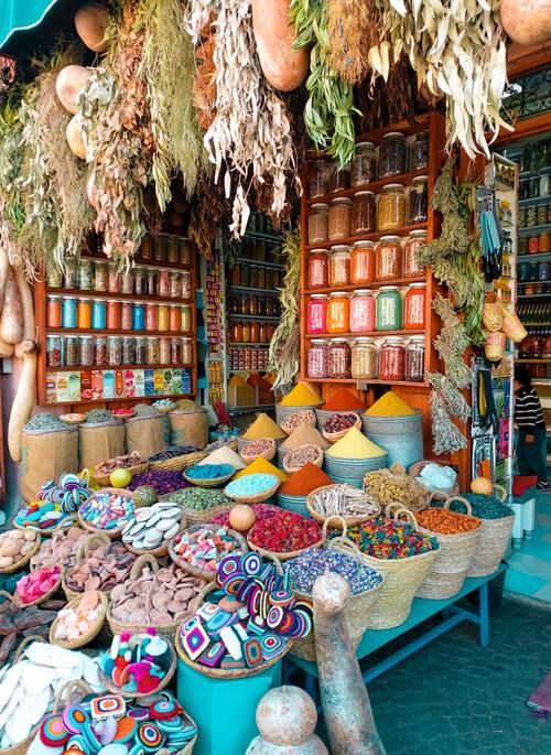 Colorful spices at a Moroccan souk