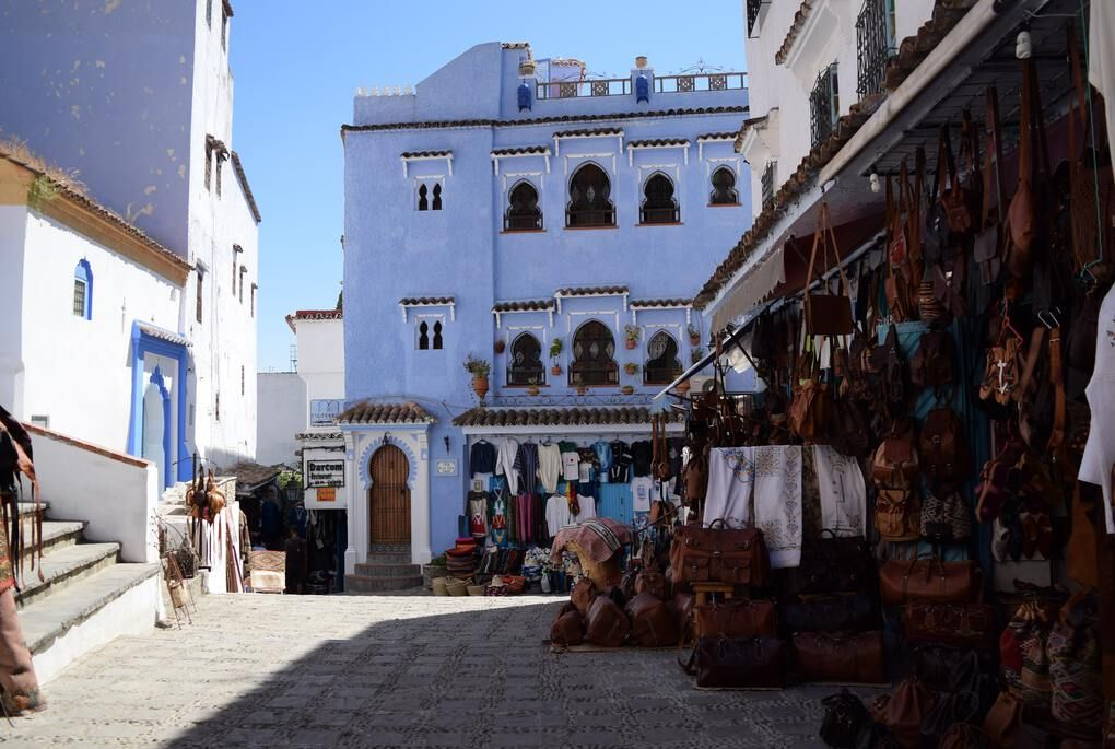 Moroccan souk in front of blue building