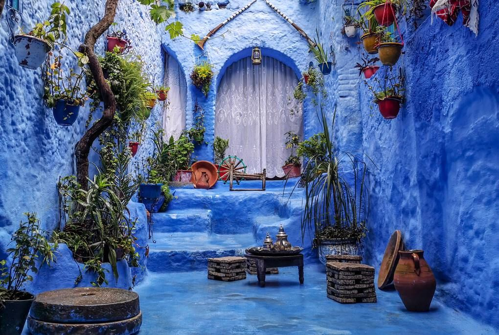 Blue building in Chefchaouen, Morocco