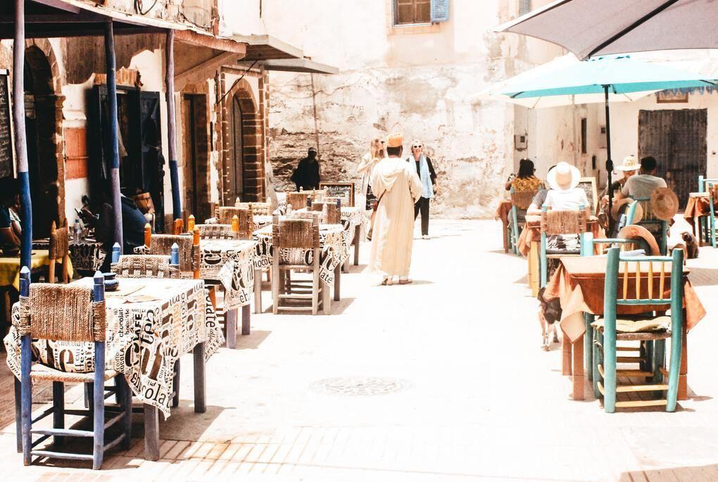 Outdoor restaurant in Essaouira, Morocco