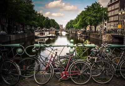Niederlande, Amsterdam, Fahrräder und Kanal