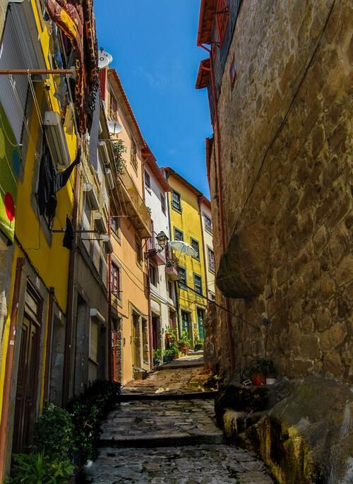 Narrow, colorful street in Porto