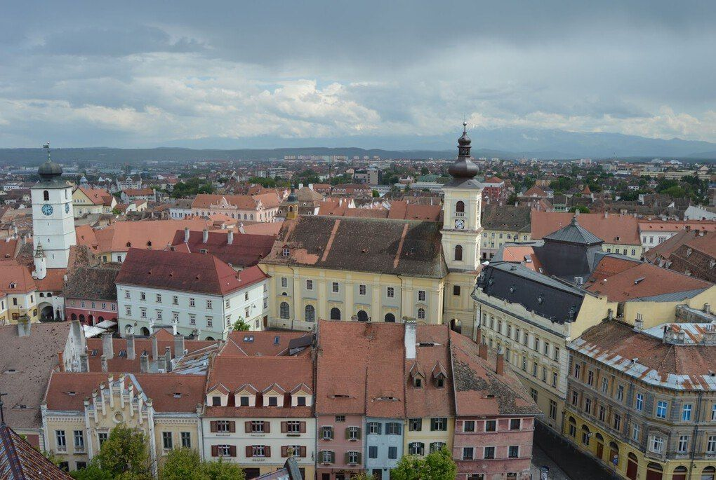 View of the Council Tower (left) and the Catholic Church Tower (right), from the Lutheran Cathedral Tower in Sibiu