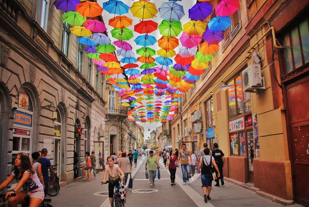 Umbrella Street in Romania