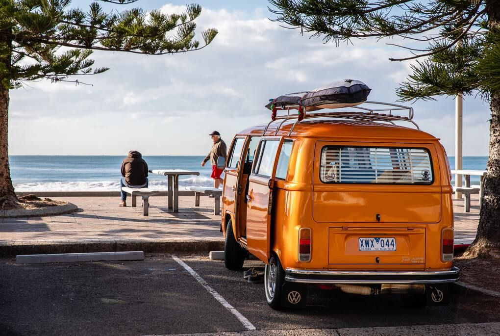 Orange van on Manly beach