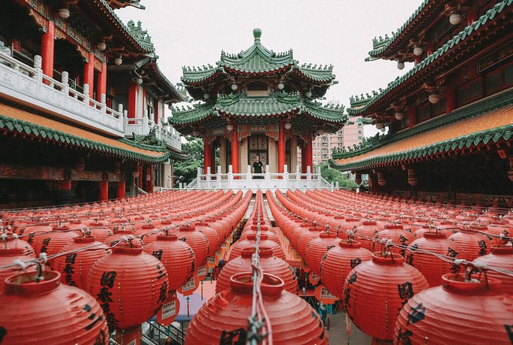 Red lanterns at temple in Kaohsiung City, Taiwan