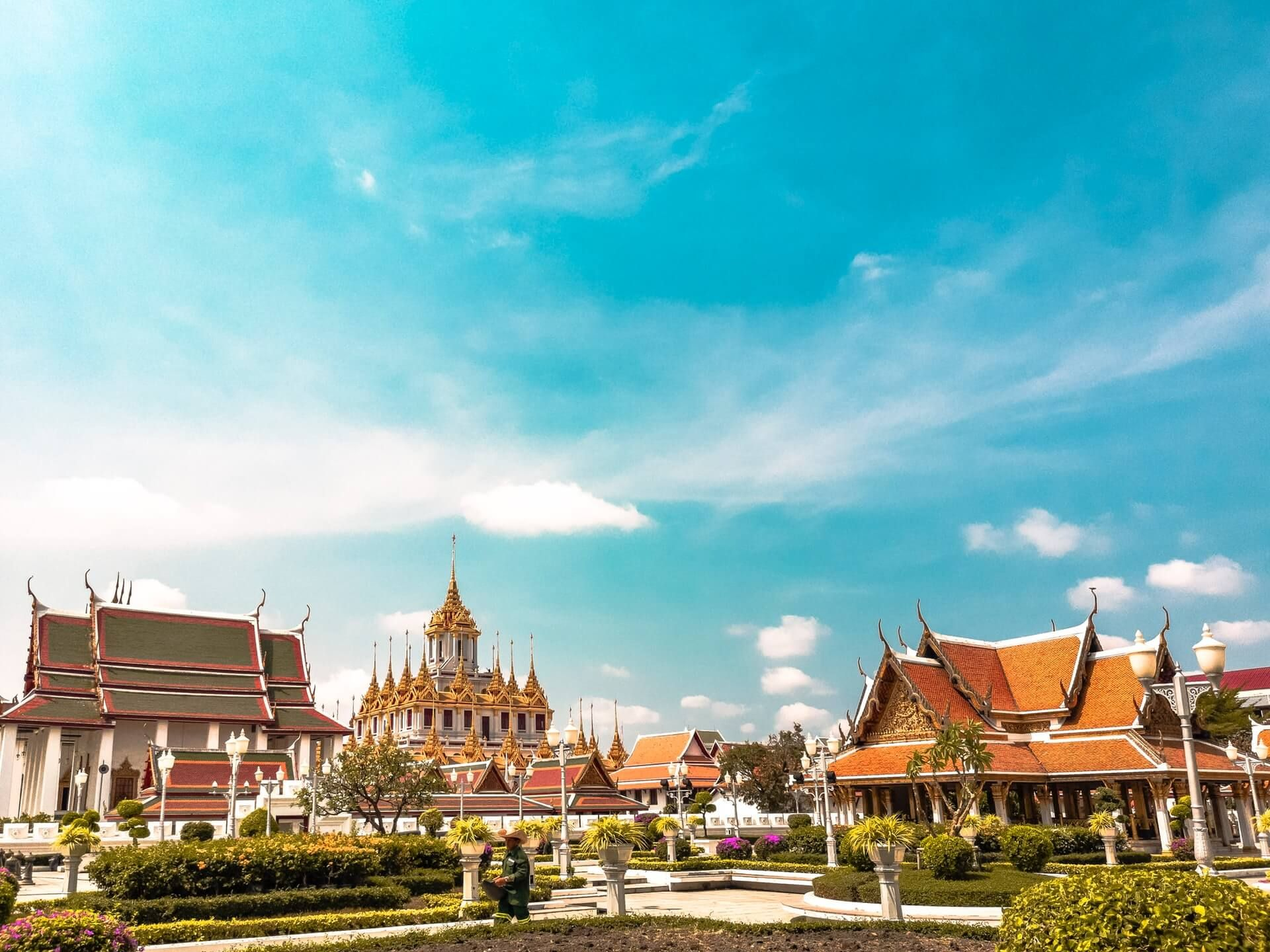 Laho Prasat in Bangkok, Thailand - orange temples in the daytime