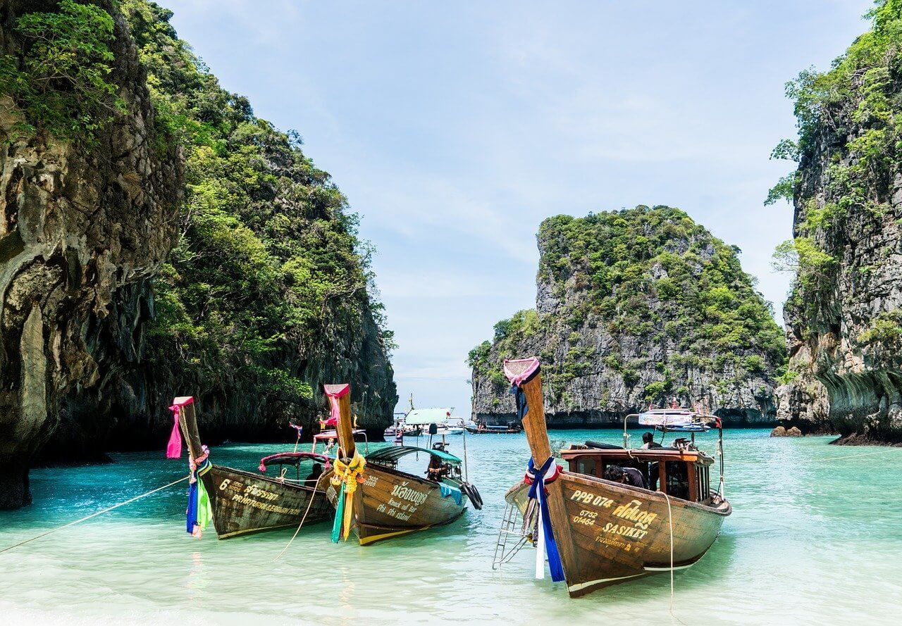 Phuket Island - colorful boats on tropical island