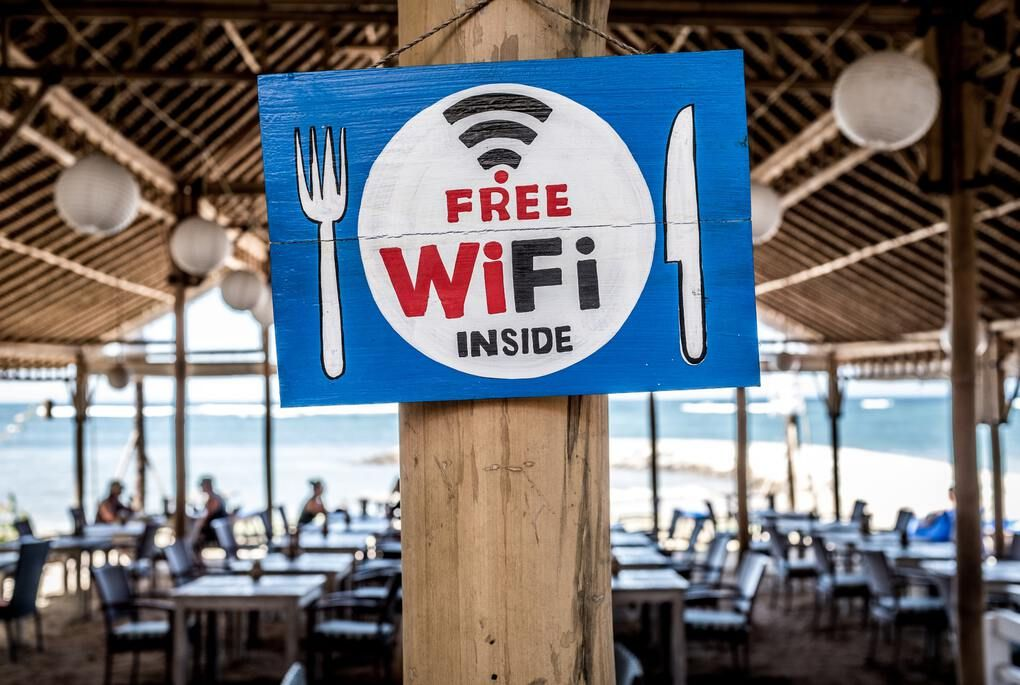 Free wifi inside sign at a restaurant