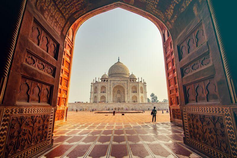 Uitzicht op de Taj Mahal