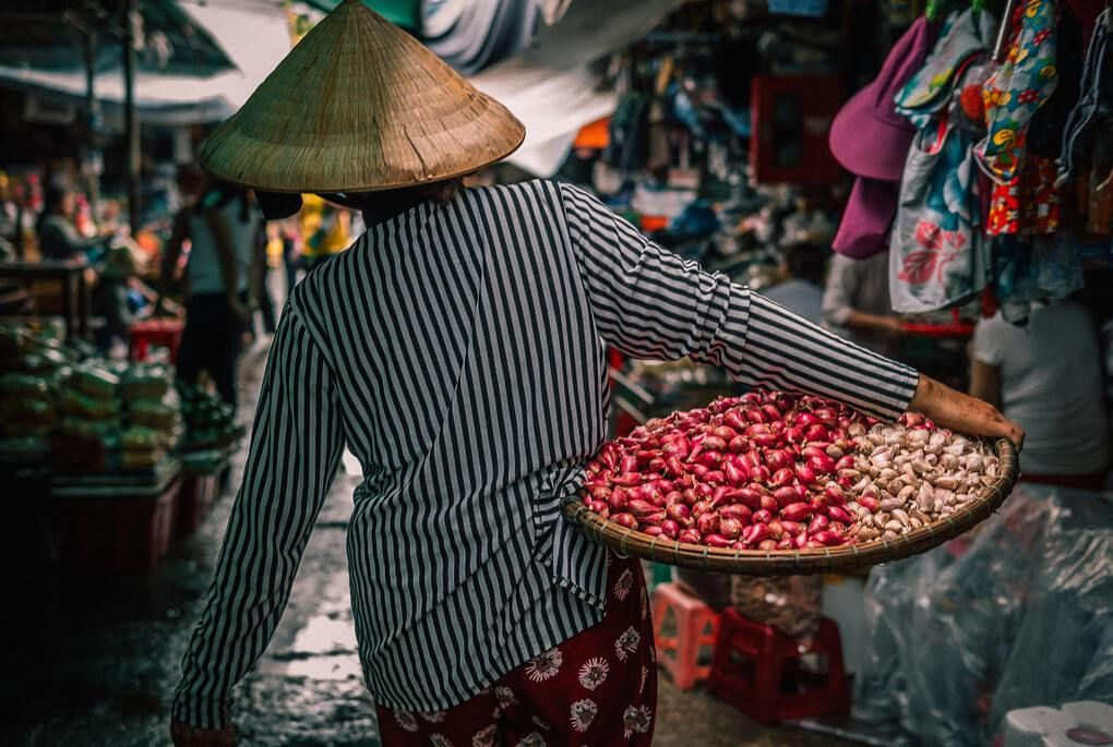 Vietnamese person with bamboo hat